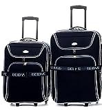 2X valigia trolley–XXL di volume–76cm + 56cm, estendibile–Nero