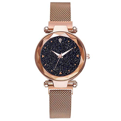 Leopard MAG-2 Luxury Mesh Magnet Buckle Starry Sky Quartz Watches for Girls Fashion Clock Mysterious Rose Gold Lady Analog Watch - for Girls