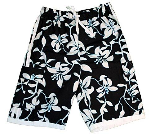 Tronco-de-bao-para-hombres-Palm-Wave-en-Negro-con-el-azul-floral-XL