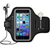 iPhone SE/5/5S, iPod Touch 5/6 Armband, JEMACHE Gym Jog/Run/Ride/Exercise/Workout Sport Arm Band Case for iPhone SE 5 5S 5C, iPod Touch 5th 6th with Card/Key Slot (Black)