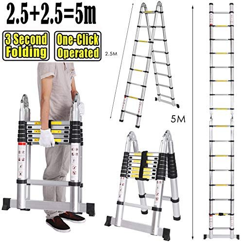 5M Échelles télescopiques Portable et Pliante Echelle Escamotable Polyvalent Multi-Fonction en Aluminium, 16 Echelons, 150 Kg (5M (2,5M + 2,5M))