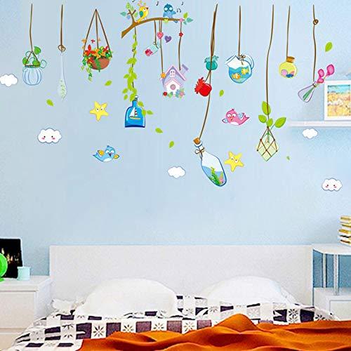 (YKLOPI DIY Home Decor Hängen an den Niederlassungen der Drift Flaschen dekorative Zimmer Wandaufkleber Schlafzimmer Mason Jar)