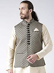 Deyann Black Dupion Nehru Jacket, Modi Jacket for Men Party Wear