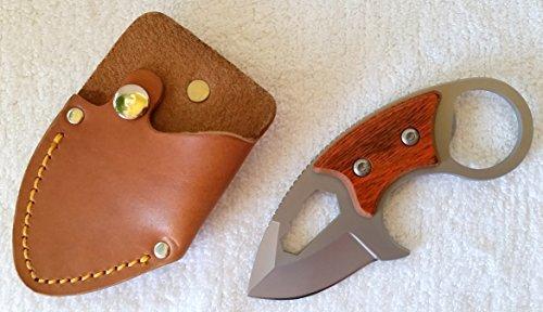 Messer - feststehendes Messer - Edelstahl mit Holz - Klinge ca. 5 cm - kommt mit Lederetui - NEU