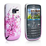 Coque Nokia C3 Rose / Blanc Silicone Gel Floraux Abeille Housse