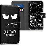 kwmobile Hülle für Samsung Galaxy J3 (2017) DUOS - Wallet Case Handy Schutzhülle Kunstleder - Handycover Klapphülle mit Kartenfach und Ständer Don't touch my Phone Design Weiß Schwarz