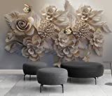 Wh-Porp 3D Geschnitzte Blumen Wandbild Tapete Wandbild Moderne Wohnzimmer Und Tv Hintergrund Wand 3D Foto Wandbild 3D Dekor Wandtattoos Kunst-128Cmx100Cm