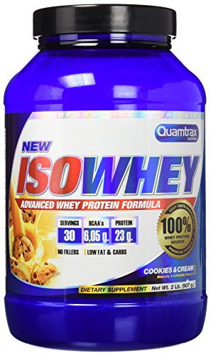 Quamtrax Nutrition Suplemento para Deportistas Isowhey, Sabor Cookies & Cream - 907 gr