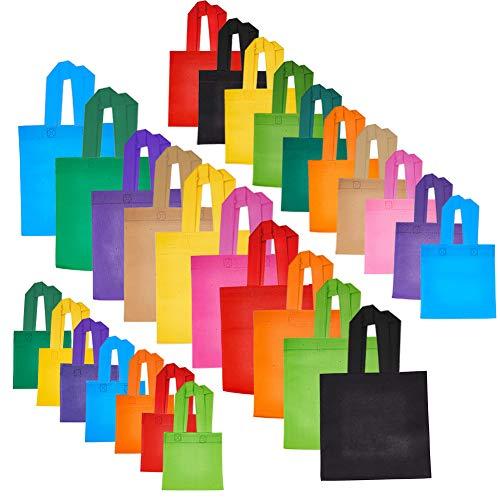 PandaHall Elite 27 Stück Non Woven Einkaufstaschen, Eco-Friendly wiederverwendbare Treat Taschen Party Geschenk Tragetaschen mit Griffen für Geburtstag Gefälligkeiten Dekoration, 3 Größen, Mischfarben