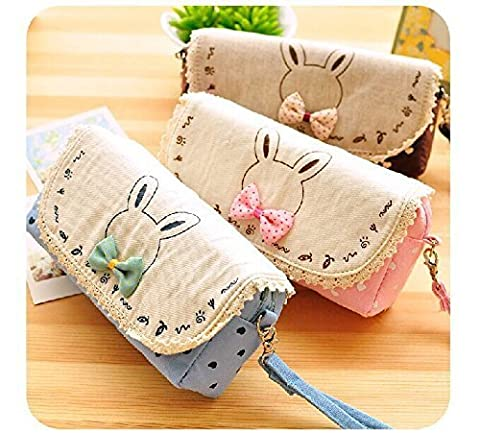 1 X Creative Cute Bowknot Large Capacity Canvas Pencil Box Stationery Supplies Pencil Case by Office & School Supplies YingYing