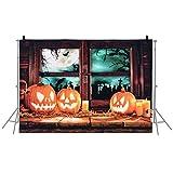 Lepeuxi 6.9 * 5ft / 2.1 * 1.5m Antecedentes de Fondo de Halloween Fotografía Decoración de Fondo Patrón de Calabaza para DSLR Camera Photo Studio