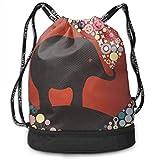 FIYOBQ Sport Sporttasche Drawstring Backpack Bag Sport Gym Sackpack - Elephant Lover Multipurpose...