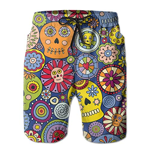 Dress rei Festive Sugar Skulls Men's Swimming Trousers Quick-Drying Beach Polyester Shorts -