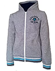 Officiel CHELSEA FC Zip Top à capuche – Fille 10/11 ans (Gris/rose/blanc)