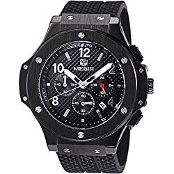 Megir Mens Black Dial Chronograph Big Face Sport Quartz Watch with Silicone Strap