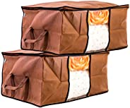Amazon Brand - Solimo 2 Piece Non Woven Fabric Underbed Storage Bags, Large, Brown