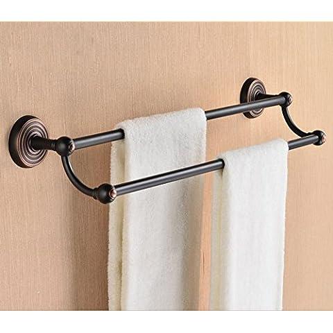 antiguo toallero/Azul y blanco porcelana y latón toallero de barra/Barra de toalla doble/Continental talladas Barra de toalla/Accesorios