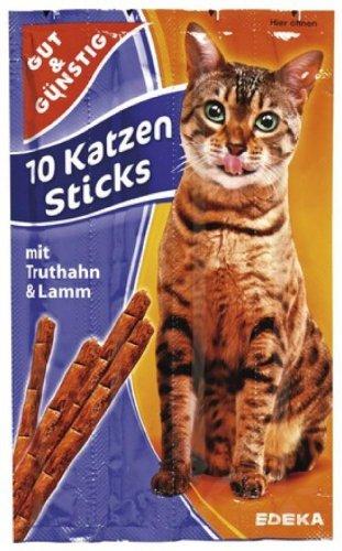 Gut & Günstig 10 Katzen-Sticks mit Lamm und Truthahn 50g