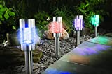 4 er Sparset Solarleuchte Farbwechsel oder weiß Edelstahl Echtglas mit integriertem Solarmodul und Dämmerungssensor - auch als Pfadbeleuchtung oder Wegeleuchte verwendbar - hochwertige rostfreie LED Solarleuchten mit 2 LEDs