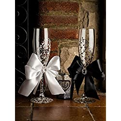 Copas de champán con cintas para boda, pintadas a mano, Medidas 5x21 cm