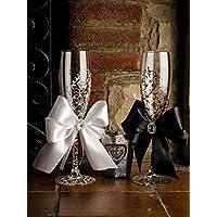 Pintado a mano de la boda de la novia y novio de copas de champán con