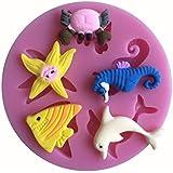 LYNCH animales de mar silicón de la serie 3D del molde utensilios de cocina antiadherente pasta de azúcar del molde de jabón,Rosa