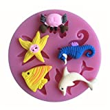 LYNCH Animal mare Muffa del silicone 3D Bakeware decora fondente Soap Mold rosa