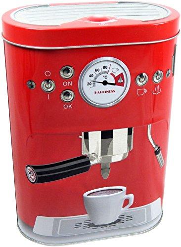 OOTB Vorratsdose Espresso Retro Design mit Deckel Metall Dose Vintage 19 cm (Rot)