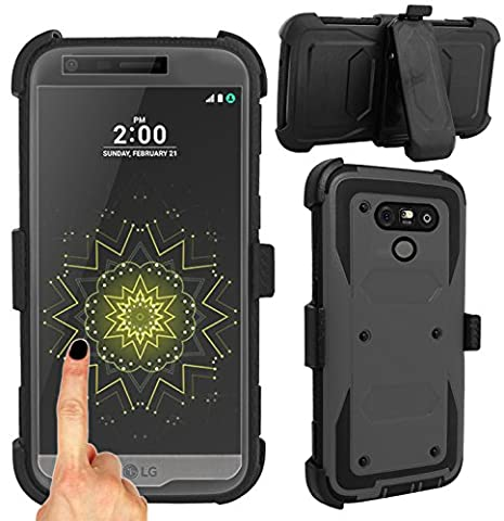 Magic Global Gadgets® For LG G5 (GUNMETAL GREY) Strong Military Survival Builders Workman Shockproof Hard Defender Case Cover With Built In Tough Screen Guard + 360° Detachable Belt Holster Clip/ Kickstand