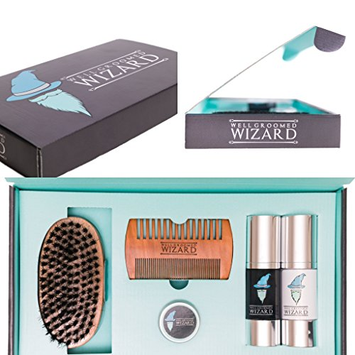 Well Groomed Wizard Kit Toilettage pour la Barbe, Kit Soin Barbe, comprenant une Brosse, Peigne, Huile, Cire et Baume