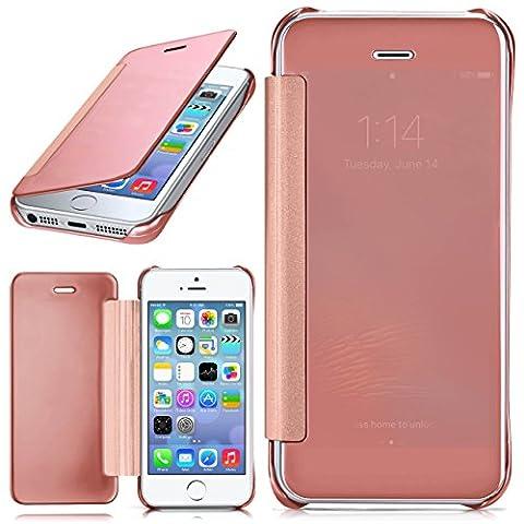 iPhone 5S Hülle Transparent TPU [OneFlow Void Cover] Dünne Schutzhülle Rosé-Gold Handyhülle für iPhone 5/5S/SE Case Ultra-Slim Handy-Tasche mit Sicht-Fenster