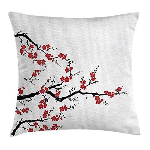 Cherry-gewebe-sofa (Dekokissen KissenbezugEinfacher Cherry Blossom Tree Asian Botanic Themed Pattern-Neue organische Linien Kunst Pillow Cushion Cover Pillowcase,45x45 cm)