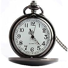 Mixe Men's Smooth Stainless Steel Case White Arabic Numerals Modern Pocket Watch (Black)