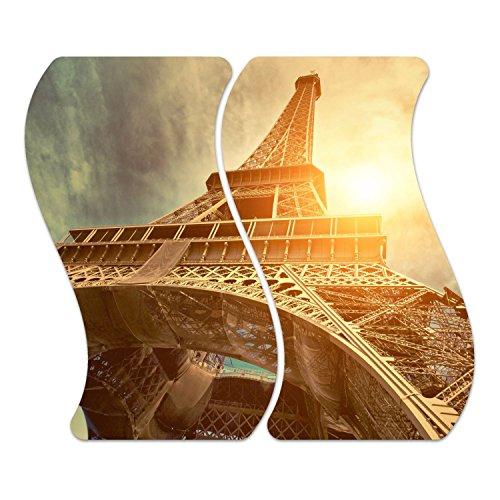 DekoGlas Herdabdeckplatten Set inkl. Noppen aus Glas 'Eiffel Tower', Herd Ceranfeld Abdeckung, 2-teilig Curved 2X 52x30 cm (Tower Glas-set Eiffel)