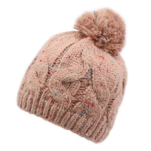 Kabel Stricken Baumwolle Hut (MKHDD Frauen Stricken Hüte Erwachsene Chunky Zopf Strickmütze Garn Pompon Verdickung Warme Freizeit Beanies Caps,A)