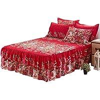 Somedays Falda de cama para cama de matrimonio con volantes, fácil cuidado, falda de cama, buena transpirabilidad, suave y delgada y ligera, falda para cama de matrimonio