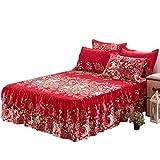 Jannyshop Bettlaken mit rüschen Bettvolants aus Polyestergewebe, 150×200cm, mit ein Paar Kissenbezüge