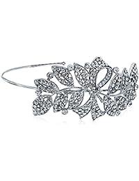 Bling Jewelry Rhinestone Crystal Joyas Bling Hoja de cinta diadema nupcial chapados en plata.