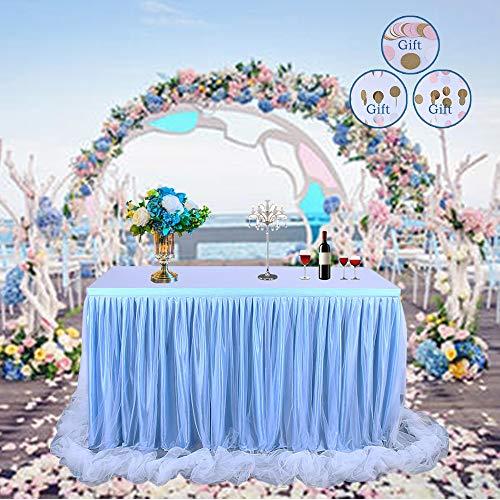DEHUAIYKIO 【Update-Version】 Tischrock Tüll Tischrock Long Tutu Tüll Eleganter Tisch Tischrock Tischdecke für runden Tisch & Rechteck, für Partys, Hochzeit, Baby Shower Dekoration & Dusche (Blau) - Blau Rechteck Tischdecke