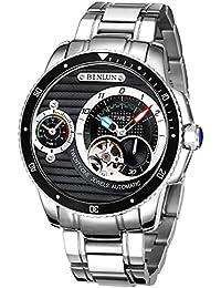 BINLUN Reloj Automático Automático Sinuoso Relojes Deportivos Multifuncionales con Doble Zona Horaria Negro Impermeable ...