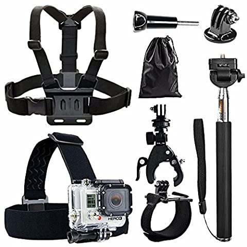 BPS 7 en 1 Kit d'accessoires pour GoPro Hero 5 4+ 3 2 1 SJCAM SJ4000 SJ5000 SJ6000 Lightdow / Xiaomi Yi / WiMiUS / dBpower / Chambre de Apeman / Action Camera Campark, Kit d'accessoires Sports de plein air