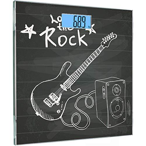 Ultraflache hochpräzise Sensoren Digitale Waage für Körpergewichte Gitarre Gehärtetes Glas Personenwaagen, Love The Rock Music-Themen-Sketch Art Resonanzkörper und Text auf Tafel, Anthrazitweiß, Ba -