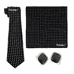 Sorella'z Black Rectangled Dotted Designer Necktie Pocket Square & Black CufflinksCombo Combo for Men's