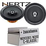 Lasse W202 Front - Hertz DCX 165.3-16cm Koax Lautsprecher - Einbauset für Mercedes C- JUST SOUND best choice for caraudio