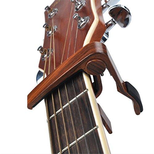 Cejilla Guitarra NIAYEYA Capo Guitar /Capo Guitarra Perfecto para Guitarra Acústica, Eléctrica o de Guitarra, Ukelele, Banjo, Mandolina, Bajo con 5 púas de Guitarra, Palisandro