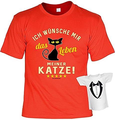 lustiges witziges T-Shirt Funshirt Leiberl mit Mini Shirt - Geburtstag Geschenk Geschenkidee Weihnachten Papa Freund Karneval das Leben meiner Katze! Gr: XXL