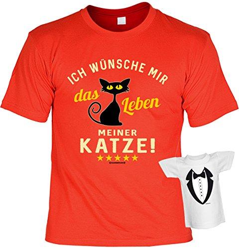 Fun Shirt mit lustigem Motiv: Ich wünsche mir das Leben meiner Katze! - Mit gratis Mini Shirt - Geschenk - Geburtstag - rot Rot