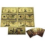 Feuille d'or 24K Billet de banque Argent Dollars américain 1 -100 Dollar Gold Foil Money Ensemble de 7 Notes bancaires