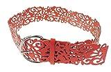 Cintura alta da donna, in pelle ecologica, con intagli floreali Red Taglia unica