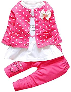 Blusa de niña, RETUROM Dot Bowknot Cardigan Coat, camiseta, pantalones largos ropa de 3 niñas de la niña